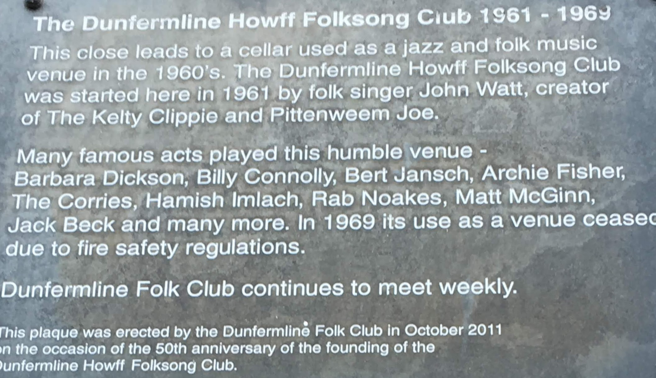 Detail of plaque which details The Dunfmerline Howff Folksong Club 1961-1969.
