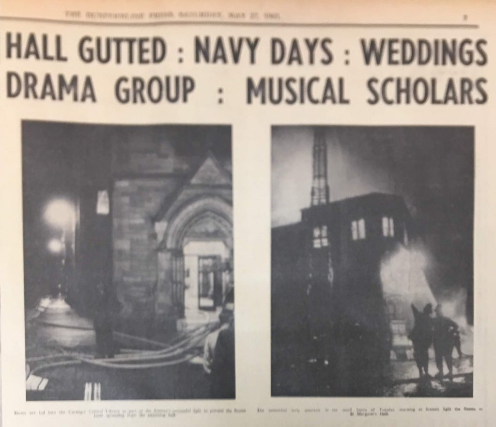 """Headline from The Dunfermline Press 'Hall gutted"""""""
