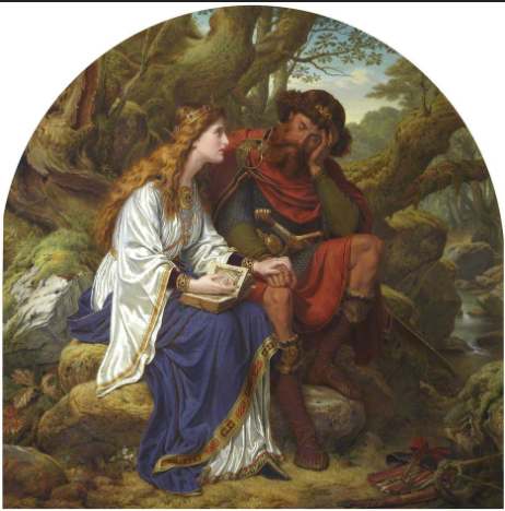 Victorian oil painting showing Malcolm III and Margaret in intimate conversation surrounded by forest.
