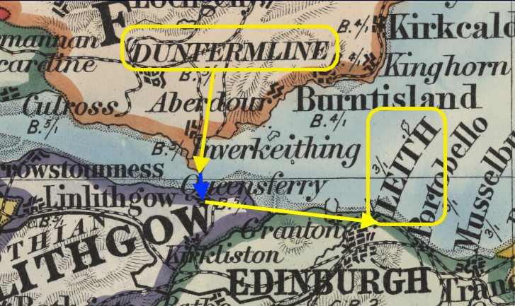 Map showing Dunfermline and Leith