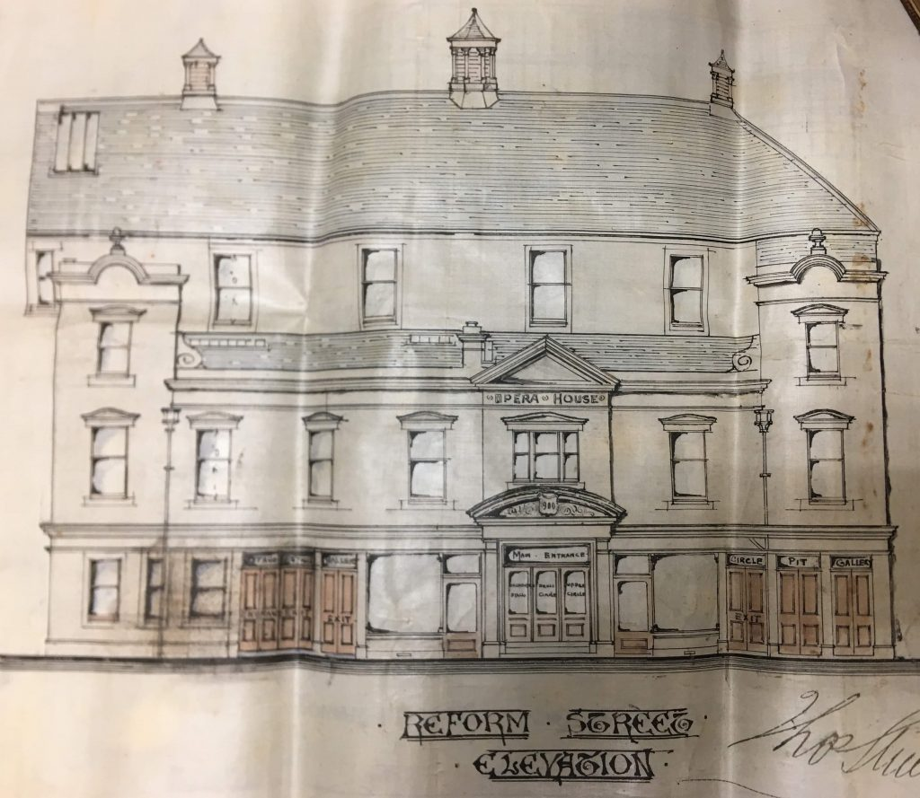 Architect's drawing of Opera House Reform Street elevation