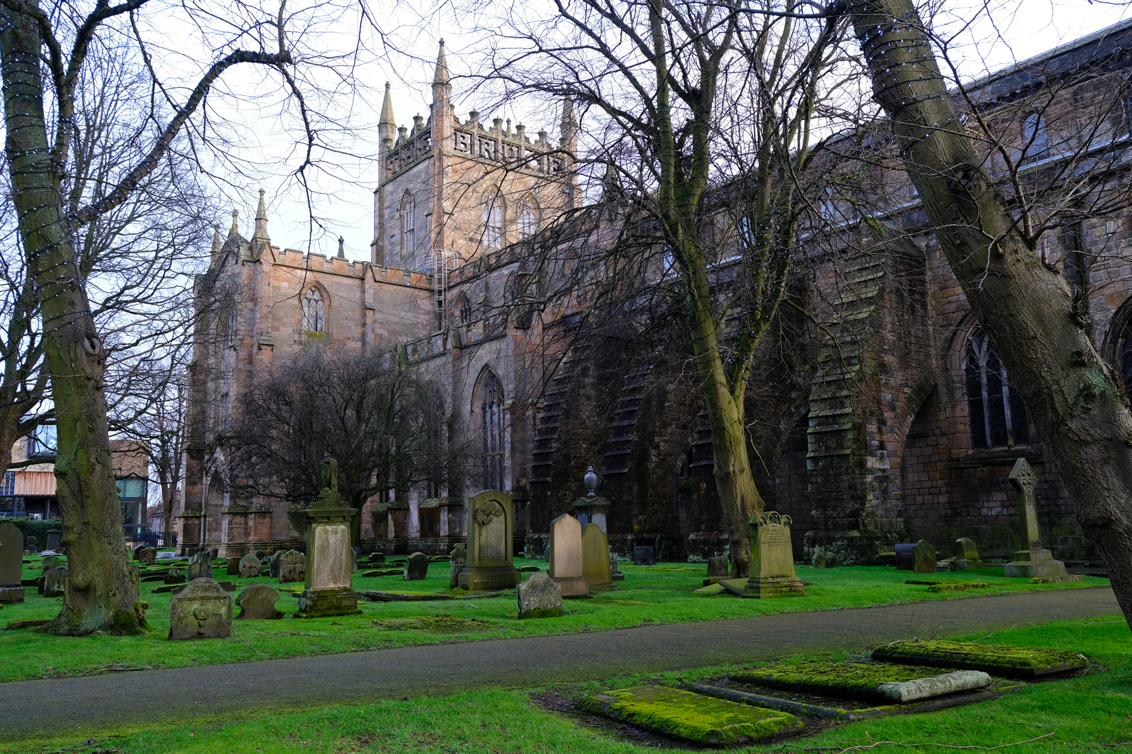 Looking to north side of old Nave and New Abbey Church. Foreground has trees and graveyard.