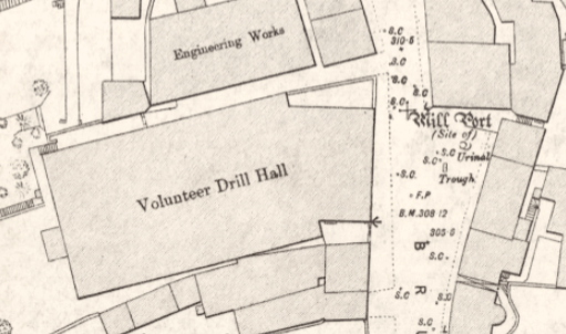 1893 Ordnance Survey Town Map, detail from Bruce Street showing Volunteer Drill Hall