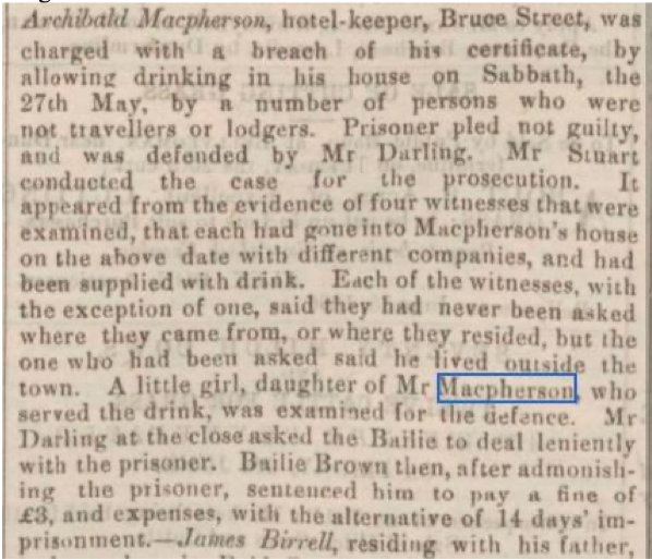 Newspaper clipping with details of Archibald Macpherson, hotel keeper at Bruce Street and his charge with breach of certificate by allowing drinking in house on Sabbath, the 27th May, by a number of persons who were not travelers or lodgers.