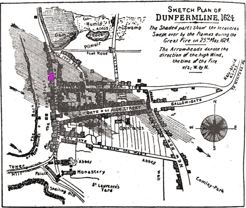 Sketch plan of Dunfermline 1624. Hand drawn map of Dunfermline key streets. Cross hatching lines from top right side go across the town streets and represent the direction of wind and spread of Great Fire of 25th May 1624.