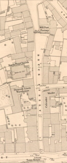 Map from 1854 showing Bruce Street coming from the top of the screen to bottom and joining with street at Town House. Other details include buildings named as North Free Church and Damask Linen Warehouse on left of Street. On the right of Bruce Street are named buildings for Mill Port Factory and Calender Works.