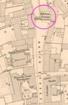 Map from 1854 showing Mill Port Factory building circled, next to site of old MillPort.