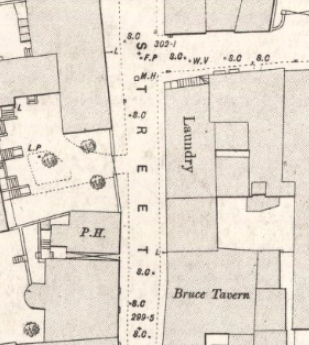 1893 Ordnance Survey Town Map, detail from Bruce Street showing Laundry and Bruce Tavern