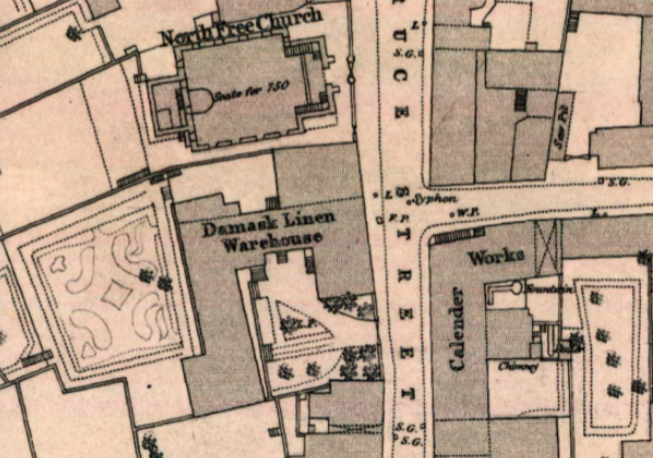 1854 Ordnance Survey Town Map, detail from Bruce Street showing Calender Works, North Free Church and Damask Linen Warehouse