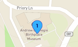 Map detail showing where stop 1 for International Connections Tour is located, outside Andrew Carnegie Birthplace Museum