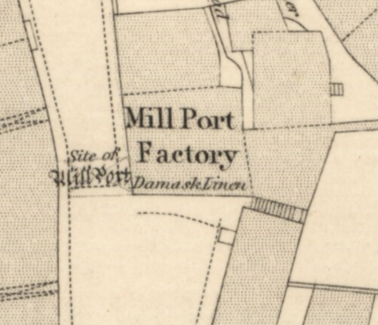 Map from 1854 showing Mill Port Factory building, next to site of old MillPort.