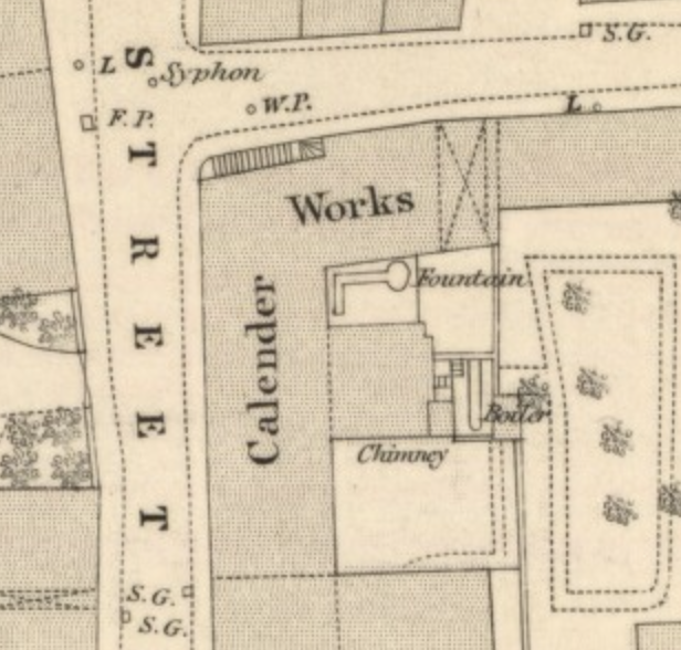 1854 Ordnance Survey Town Map, detail from Bruce Street showing Calender Works