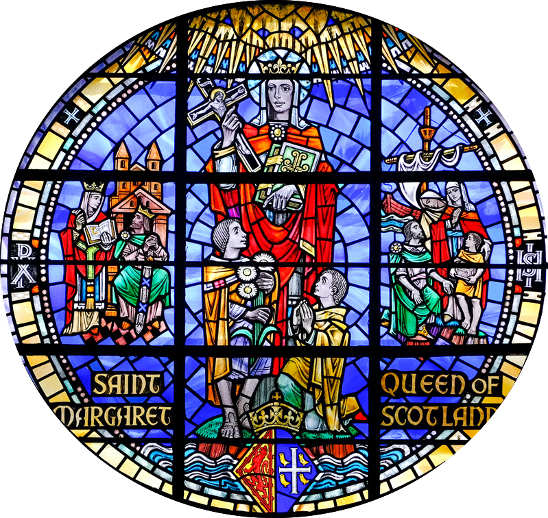 Circle stained glass window with female figure in the middle and two young boys at her feet. One is kneeling with hands in prayer and he is looking up, the other young boy is standing and leaning onto the figure. The bottom left has written Saint Margaret and the bottom right has written Queen of Scotland. Further smaller figures in the background left are man and woman, each wearing crowns and the woman is dressed the same as central figure. The group on the right background has a woman, dressed as the central figure, no crown, a man sitting and dressed like the left figure, no crown, a child in yellow and another woman head and shoulder behind the group.