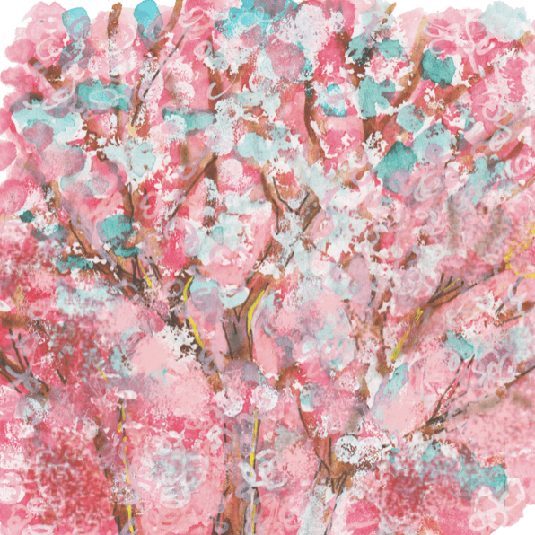 Watercolour in pink, blue and brown showing cherry blossom season.